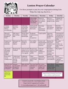 lenten prayer calendar