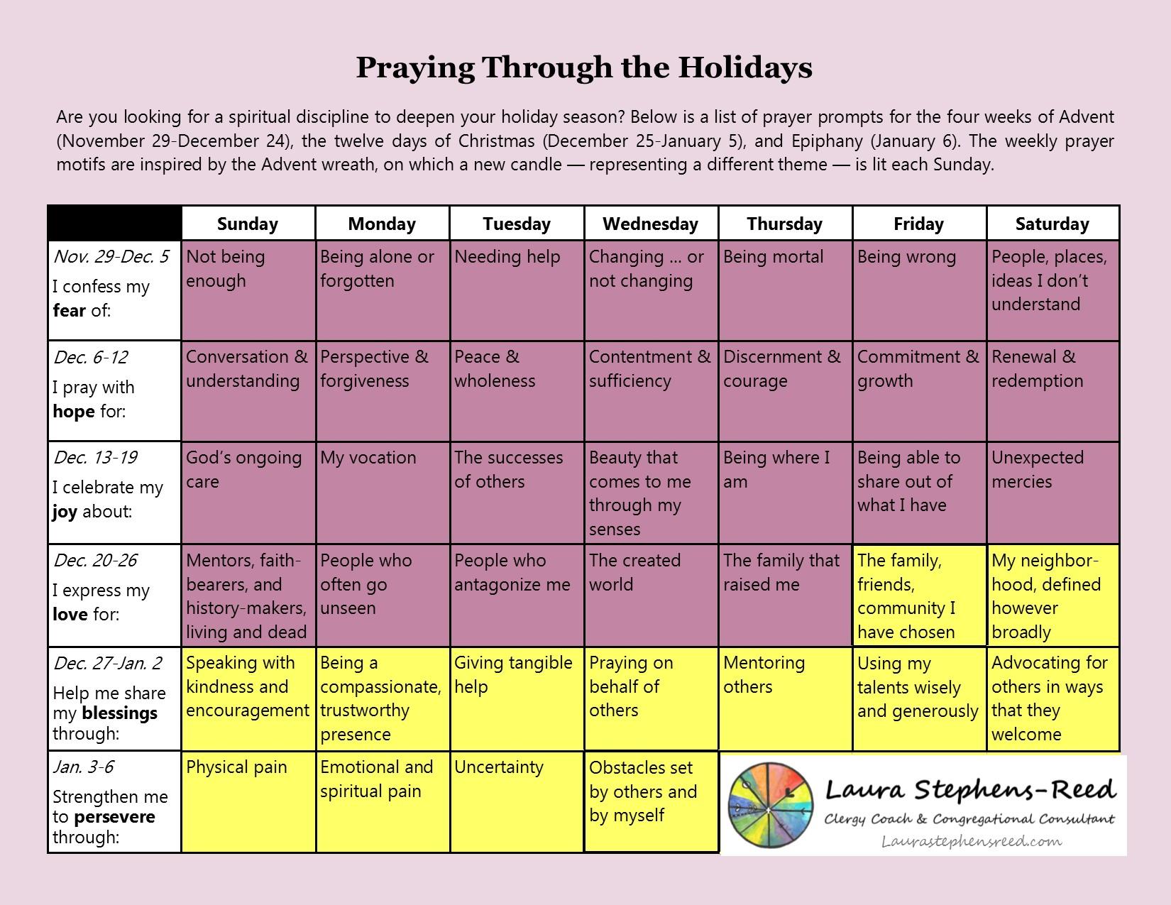 advent prayer calendar laura stephens reed
