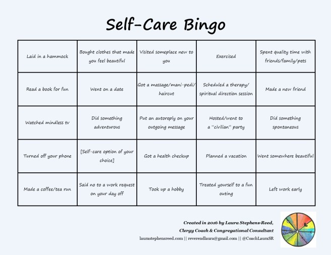 self care bingo 1